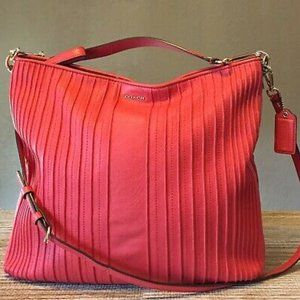 Coach Madison Pintuck Coral Leather Convert Hobo